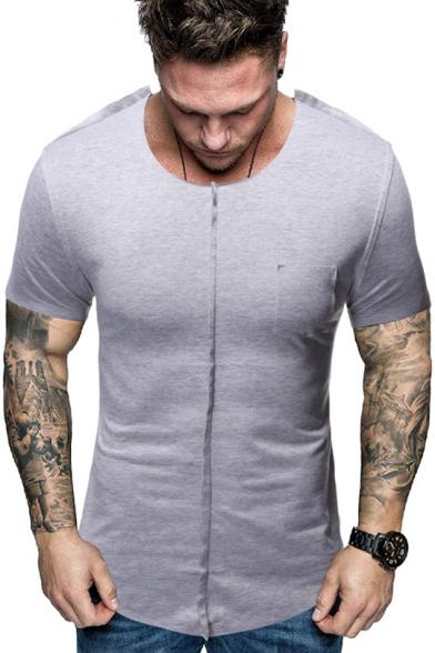 Domple Men Leisure Irregular Short Sleeve Patchwork Summer Crew Neck T-Shirt