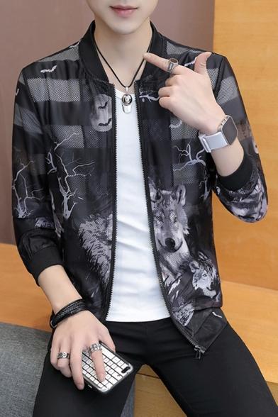 Mens Summer Fashion Print Stand Collar Long Sleeve Zip Up Lightweight Jacket