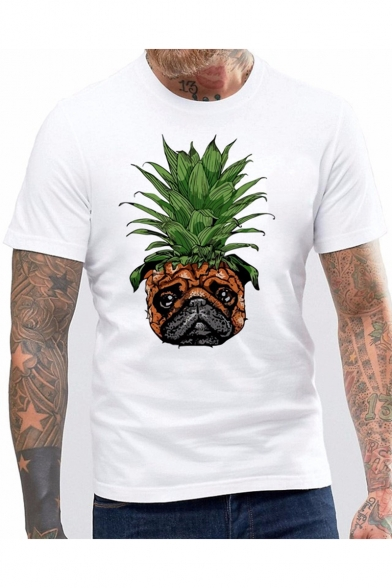 Mens Summer Funny Pineapple Dog Printed Round Neck Short Sleeve White Tee