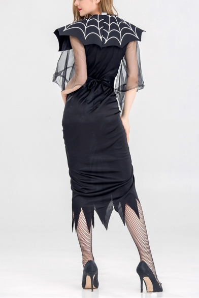 New Stylish Halloween Spider Belt Mesh Patch Sleeve V Neck Split Front Asymmetric Hem Midi Dress