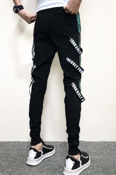 New Stylish Letter Ribbon Embellished Men's Black Cotton Casual Slim Pencil Pants