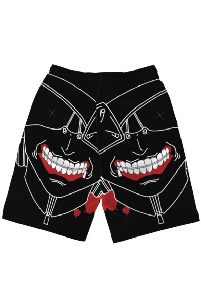 Popular Fashion Ghoul Printed Drawstring Waist Black Polyester Relaxed Beach Sweat Shorts for Men