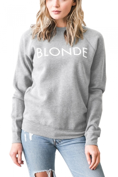 Popular Simple Letter BLONDE Printed Crew Neck Long Sleeve Casual Fitted Sweatshirt