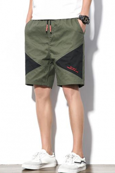 Stylish Color Block Embroidery Detail Drawstring Waist Loose Fit Men's Casual Active Shorts
