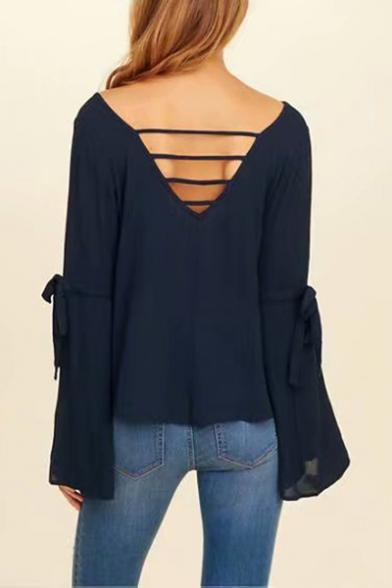 Summer Chic Floral Embroidery V-Neck Bell Long Sleeve Navy Casual Blouse