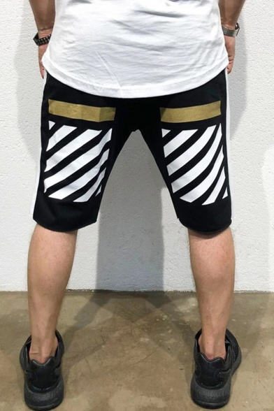 Summer Fashion Colorblock Diagonal Stripes Printed Drawstring Waist Men's Sports Sweat Shorts