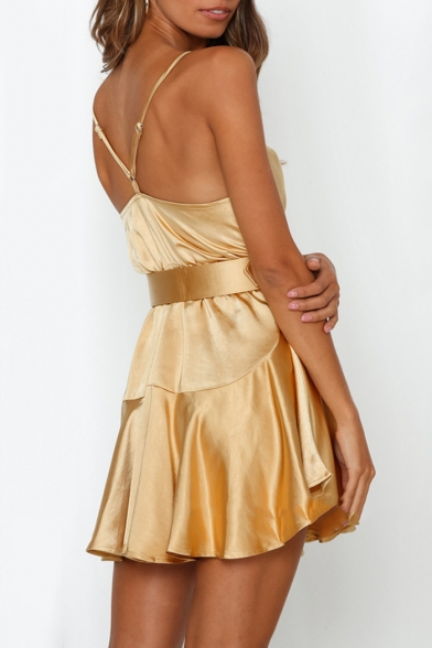 Summer Hot Popular Sexy Silk Plain Cutout Back Mini A-Line Cami Dress