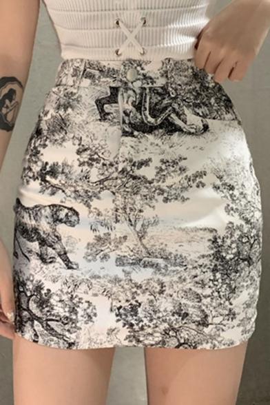 Summer Hot Sexy High Waist Bacon Ink Painting Print Mini A-Line Skirt