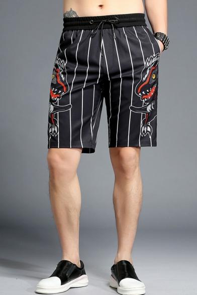 Summer New Fashion Pinstriped Dinosaur Printed Drawstring Waist Men's Black Cotton Casual Shorts
