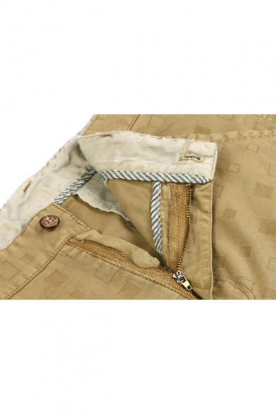 Summer New Fashion Plaid Pattern Men's Regular Fit Casual Cotton Chino Shorts