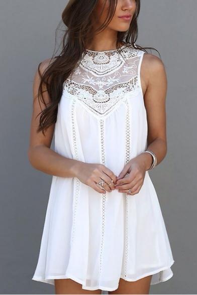 Summer Stylish Hollow Out Round Neck Sleeveless Mini White Chiffon Tank Dress