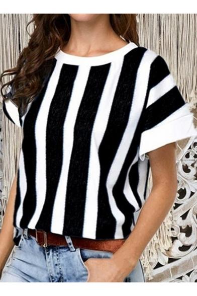Summer Trendy Vertical Wide Stripe Print Round Neck Batwing Short Sleeve Loose Tee