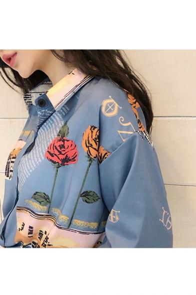 Summer Vintage Blue Rose Floral Print Short Sleeve Holiday Hawaiian Shirt