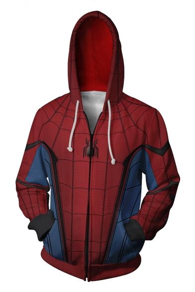 Trendy Blue and Red Spider Printed Long Sleeve Zip Up Sport Loose Hoodie