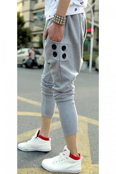 Trendy Plain Button Embellishment Drop-Crotch Drawstring Waist Joggers Harem Pants