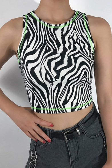 Trendy Womens Summer Striped Printed Sleeveless Fitted Tank T-Shirt