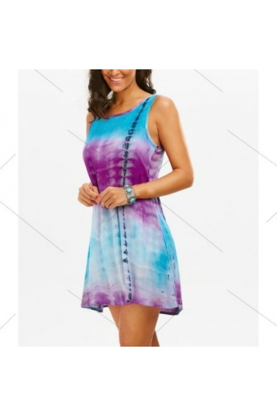 Unique Blue and Purple Tie Dye Round Neck Sleeveless Hollow Lace Back Mini Tank Dress