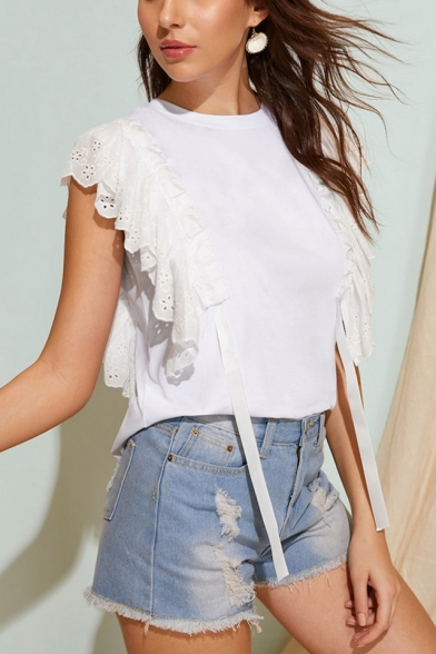 Unique Plain White Round Neck Ruffled Hem Ribbon Embellished Blouse T-Shirt