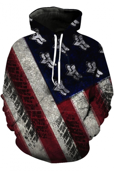 Unique Stylish Striped Printed Long Sleeve Sport Casual Pullover Drawstring Hoodie