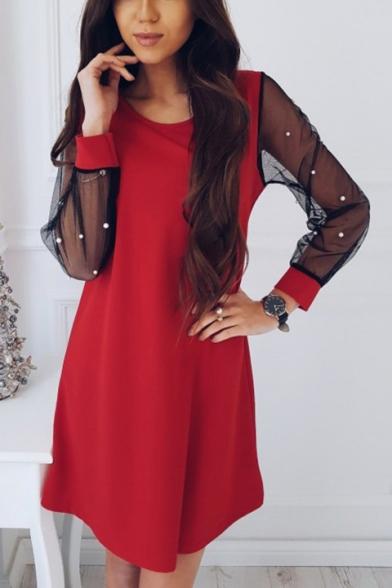 Womens Chic Beading Embellished Mesh Long Sleeve Round Neck Plain Mini Swing Dress