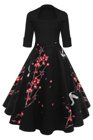 Womens Chic Vintage Floral Crane Printed Midi Black Fit and Flared Swing Dress