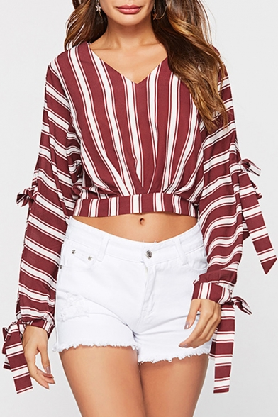 Womens Hot Fashion Red Striped V Neck Long Sleeve Bow-Tie Crop Blouse