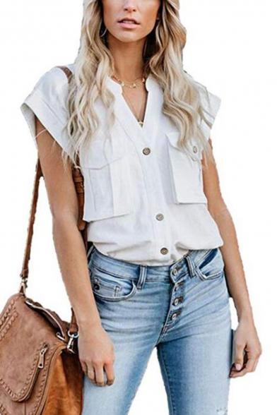 Womens Hot Popular Simple Plain Stand Collar Short Sleeve Pocket Front Button Down Work Shirt Blouse