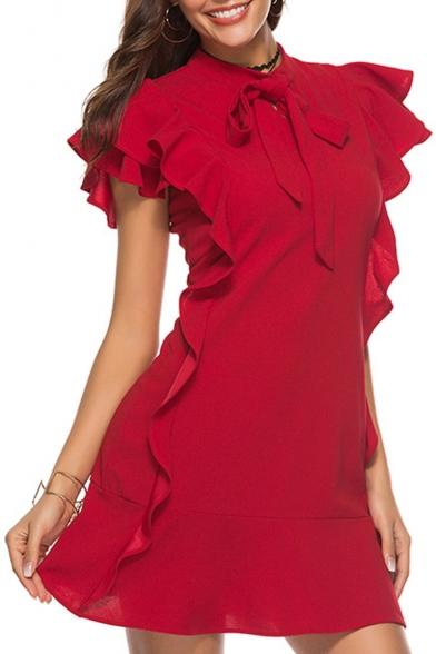Womens Plain Bow-Neck Ruffle Trim Sleeve A-Line Mini Petite Dress