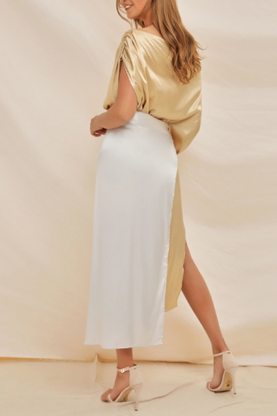 Womens Hot Trendy One Shoulder Colorblock Split Side Patch Midi Asymmetric Dress