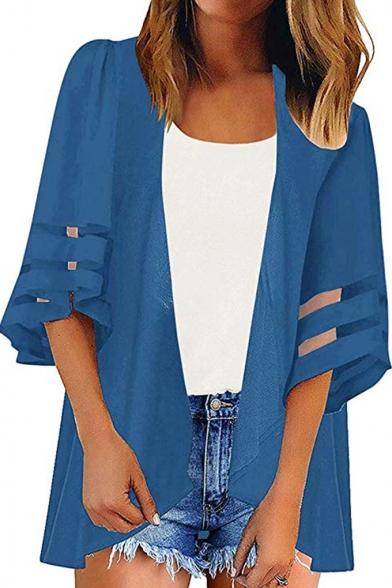 Womens New Trendy Simple Plain Mesh-Panel Sleeve Sun Protection Beach Kimono Blouse