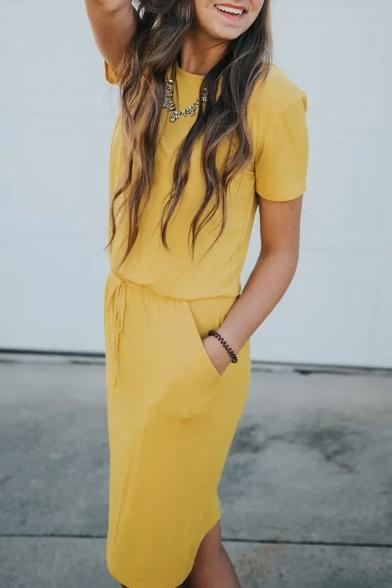 Womens Popular Simple Plain Round Neck Short Sleeve Drawstring Waist Midi Sheath Dress