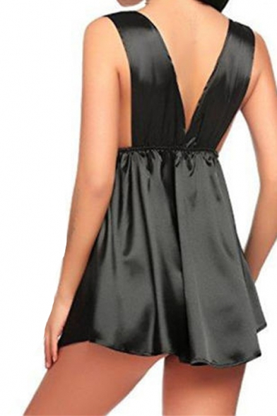 Womens Sexy Chic Lace-Trimmed Plunging Neck Sleeveless Plain Silk Mini A-Line Dress Sleepwear