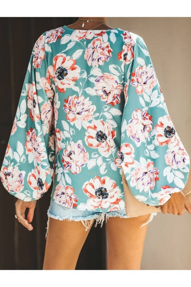 Womens Summer Holiday Tropical Floral Printed V-Neck Long Sleeve Loose Casual Blouse