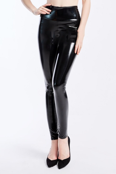 Womens Trendy Black High Waist Skinny Fitted Stretch PU Legging Pants