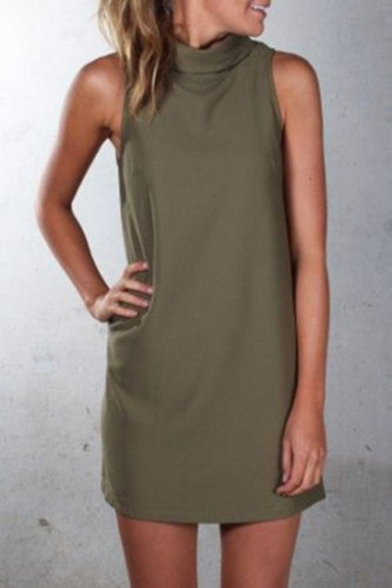 Womens Trendy Simple Plain High Neck Sleeveless Mini Sheath Dress