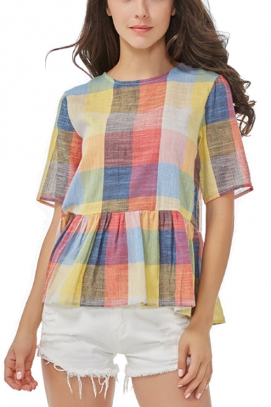 Colorful Plaid Printed Round Neck Short Sleeve Bow-Tied Back Ruffled Blouse for Women