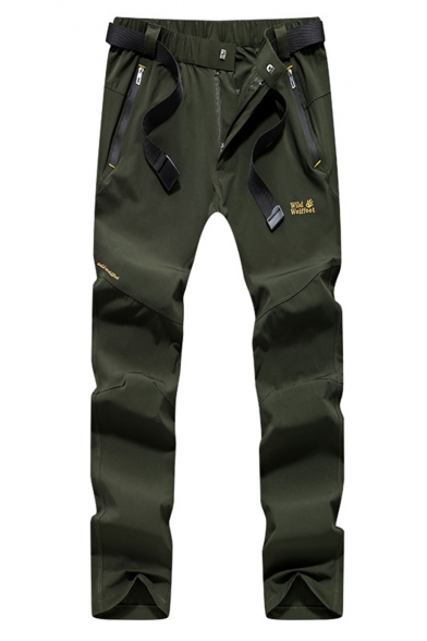 Cool Fashion Camouflage Printed Logo Embroidery Pattern Zipped Pocket Slim Fit Quick-drying Hiking Pants