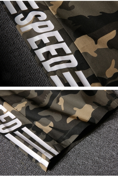 Cool Fashion Letter SPEED Striped Side Camouflage Printed Drawstring Waist Casual Active Shorts