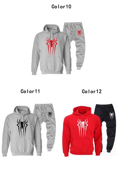 Cool Simple Spider Logo Printed Long Sleeve Hoodie with Loose Casual Jogger Pants Sport Two-Piece Set