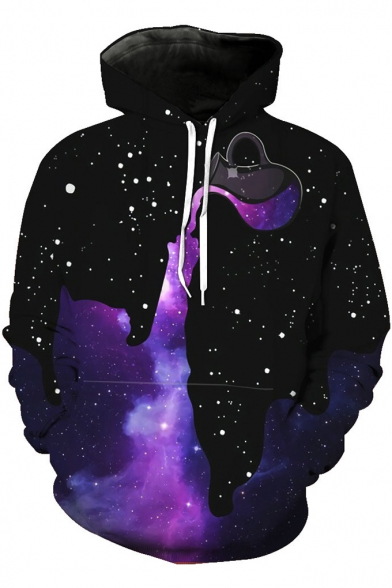 Cool Unique Dropped Galaxy Starry Printed Long Sleeve Casual Loose Black Hoodie