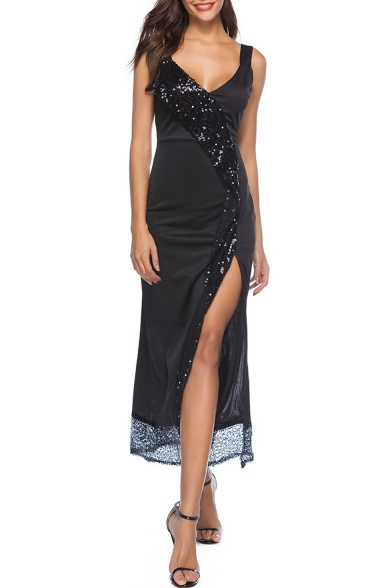 Fashion Hot Sexy Black Sleeveless Plunge V Neck Beading Embellished Split Mesh Patch Maxi Straps Dress