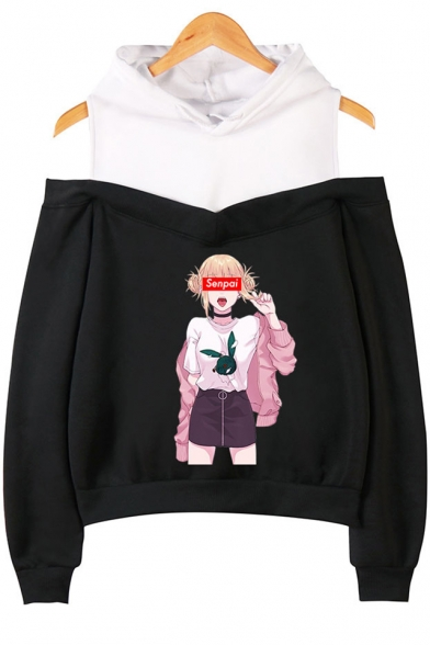 Fashion Senpai Comic Anime Girl Printed Cold Shoulder Long Sleeve Loose Pullover Hoodie