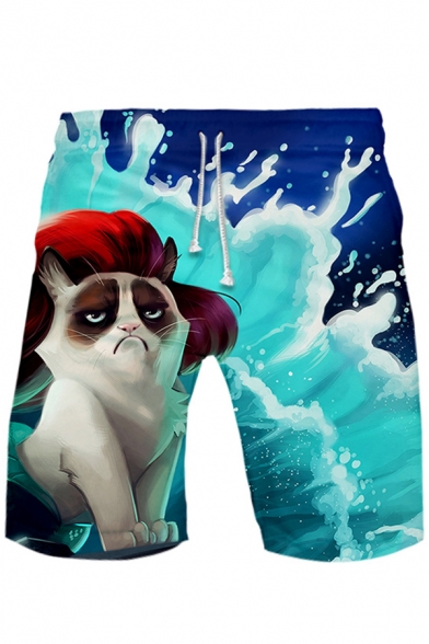 Funny 3D Cute Cat and Dog Pattern Drawstring Waist Loose Casual Sport Beach Shorts