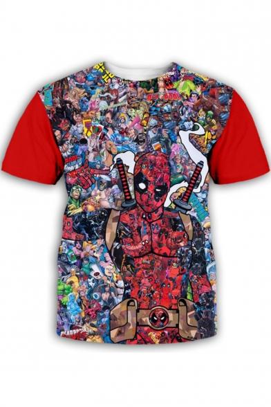 Funny Comic Character 3D Print Basic Round Neck Short Sleeve T-Shirt