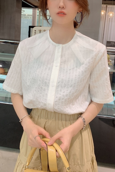 Girls Summer Sweet Mesh Panel Collar Short Sleeve Button Down Blouse Shirt
