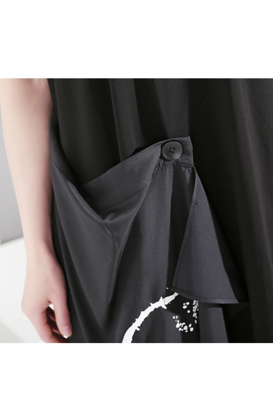 Hot Stylish Black Short Sleeves Button Front Patch T-Shirt Maxi Asymmetric Dress