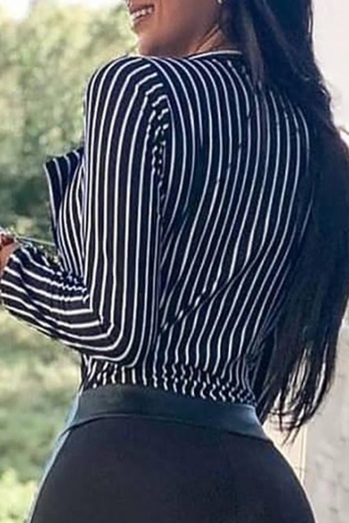 Hot Stylish Plunge V Neck Striped Print Lapel Collar Shirt