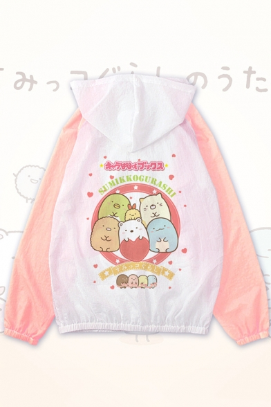 Lovely Cartoon Cat Printed Color Block Zip Up Long Sleeve Hooded Sun Protection Coat Jacket