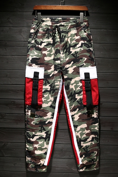 Men's New Stylish Colorblock Camouflage Printed Buckle Strap Flap Pocket Trendy Casual Cargo Pants