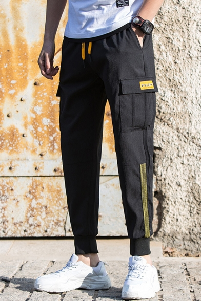 Men's New Stylish Contrast Stripe Side Flap Pocket Drawstring Waist Casual Cotton Cargo Pants